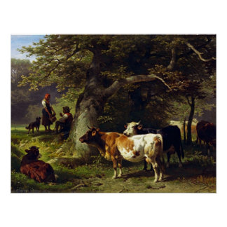Shepherd and Cow Herd at the Pond Poster