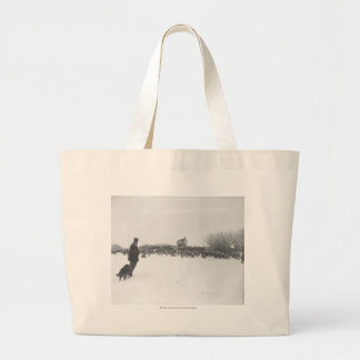 Shepherd and dog at sheep camp bags