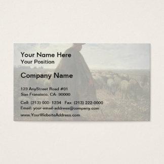 Shepherd Tending His Flock by Jean-Francois Millet Business Card