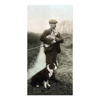 Shepherd With Lamb and Border Collie Picture Card