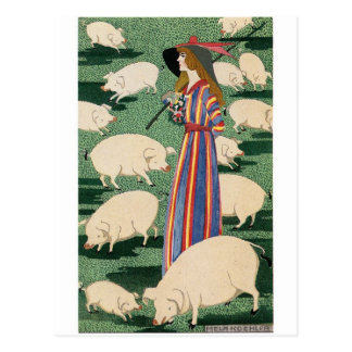 Shepherdess of the Pigs Postcard