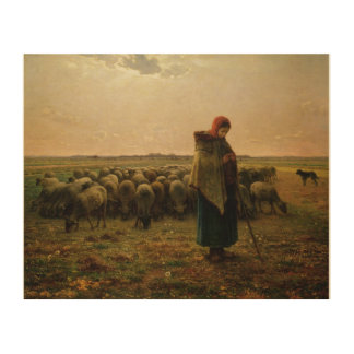 Shepherdess with her Flock, 1863 2 Wood Canvases