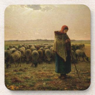 Shepherdess with her Flock, 1863 Coaster