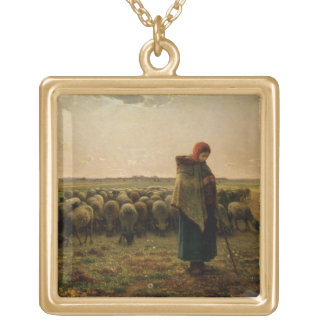 Shepherdess with her Flock, 1863 Gold Plated Necklace