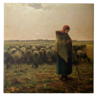 Shepherdess with her Flock, 1863 Large Square Tile