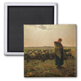 Shepherdess with her Flock, 1863 Square Magnet