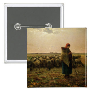 Shepherdess with her Flock 1863 Pinback Buttons