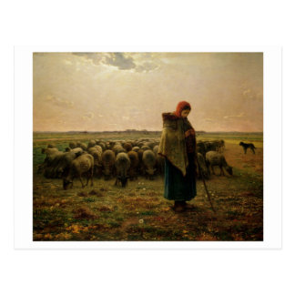 Shepherdess with her Flock, 1863 Postcard