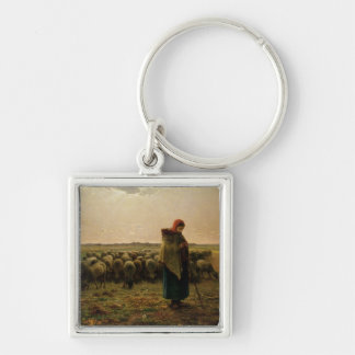 Shepherdess with her Flock, 1863 Silver-Colored Square Key Ring