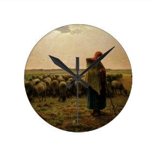 Shepherdess with her Flock, 1863 Wallclock