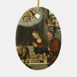 Shepherds Adoring Baby Jesus by Cranach Ceramic Ornament