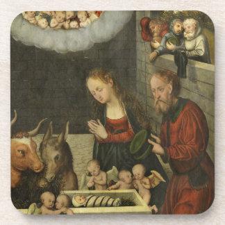 Shepherds Adoring Baby Jesus by Cranach Coaster