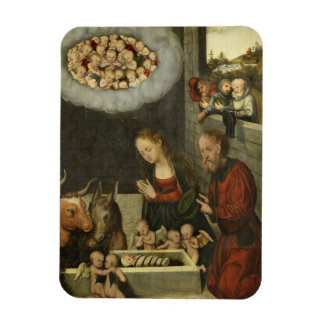 Shepherds Adoring Baby Jesus by Cranach Magnet