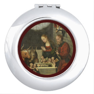 Shepherds Adoring Baby Jesus by Cranach Makeup Mirror