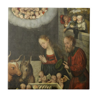 Shepherds Adoring Baby Jesus by Cranach Tile