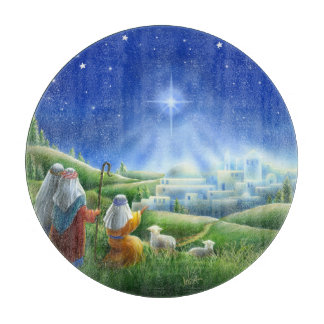 Shepherds Come to Bethlehem Glass Cutting Board