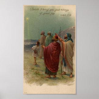 Shepherds Gazing Above Holiday Poster