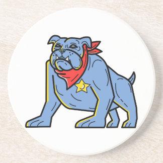 Sheriff Bulldog Standing Guard Mono Line Art Coaster