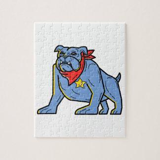 Sheriff Bulldog Standing Guard Mono Line Art Jigsaw Puzzle