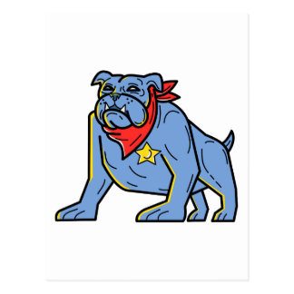 Sheriff Bulldog Standing Guard Mono Line Art Postcard