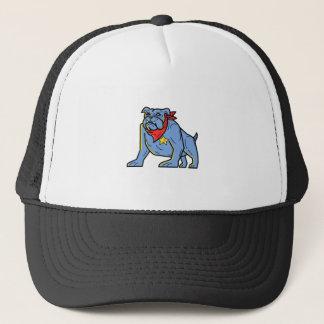 Sheriff Bulldog Standing Guard Mono Line Art Trucker Hat
