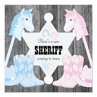 Sheriff Cowboy Gender Reveal Card