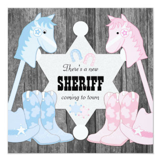 "Sheriff Cowboy Gender Reveal 5.25"" Square Invitation Card"
