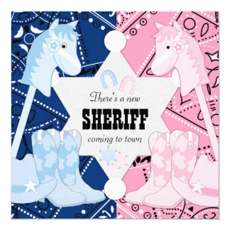 Sheriff Cowboy Gender Reveal Party Card