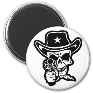 Sheriff Skull With Pistol Refrigerator Magnets