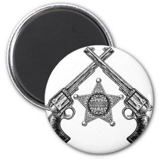 Sheriff Star Badge and Crossed Pistols Magnet