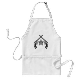 Sheriff Star Badge and Crossed Pistols Standard Apron