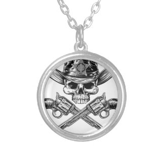 Sheriff Star Badge Cowboy Hat Skull and Pistols Silver Plated Necklace