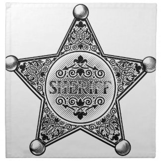 Sheriff Star Badge Woodcut Style Napkin