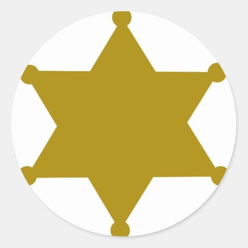Sheriff star round stickers