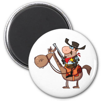 Sheriff With Gun On Horse 6 Cm Round Magnet