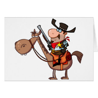 Sheriff With Gun On Horse Card