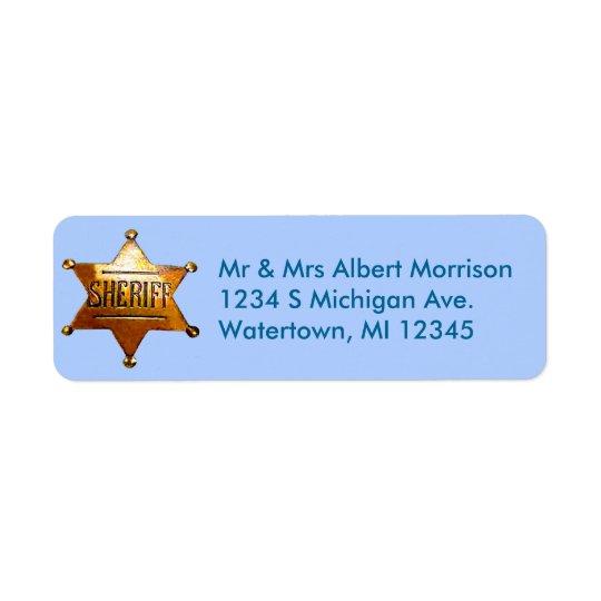 Sheriff's Badge Blue Return Address Labels