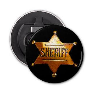 Sheriff's Badge Button Bottle Opener