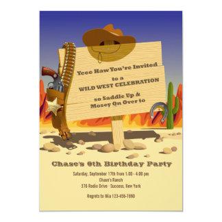 Sheriff's Holster Western Birthday Party Invitatio Card