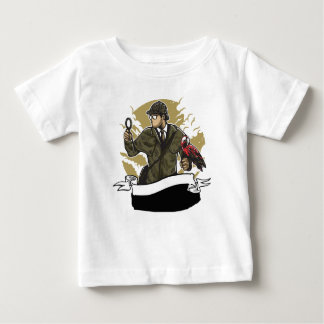 Sherlock Holmes Looking for Clues Magnifying Glass Baby T-Shirt