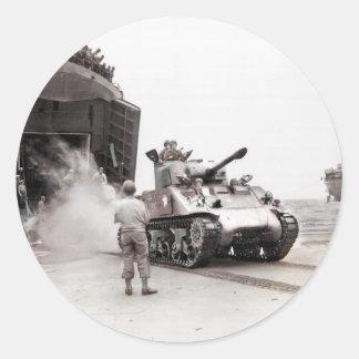 Sherman Tank and LST Round Sticker