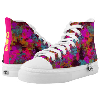 She's A Mess Monogram Paint Splatter Zip Shoes Printed Shoes