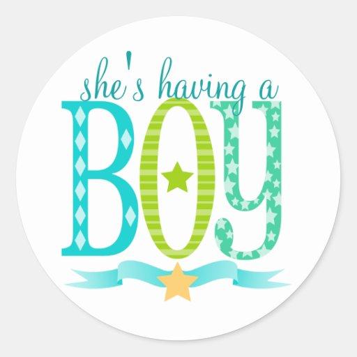She S Having A Boy Custom Baby Shower Stickers Zazzle