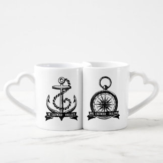 She's My Compass, He's My Anchor Personalised Date Coffee Mug Set