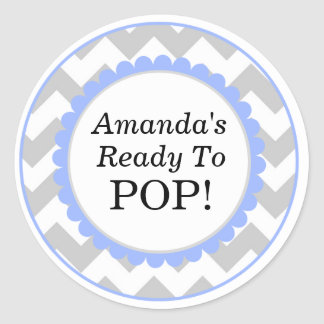 She's Ready to Pop, Chevron Print Baby Shower Classic Round Sticker