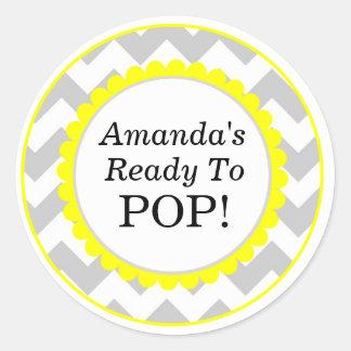 She's Ready to Pop, Chevron Print Baby Shower Round Sticker