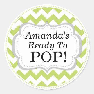 She's Ready to Pop, Green Chevron Baby Shower Round Sticker