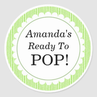 She's Ready to Pop, Green Stripes Baby Shower Classic Round Sticker