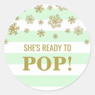 She's Ready to Pop Mint Stripes Gold Snow Classic Round Sticker
