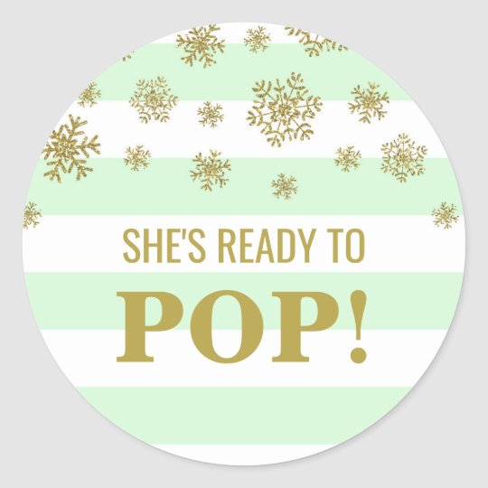 She's Ready to Pop Mint Stripes Gold Snow Classic Round Sticker